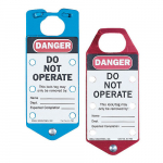 Labeled Safety Lockout Hasp, Do Not Operate, Red