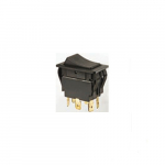 Black Rocker Switch, Dpdt, On-Off-On, Spade