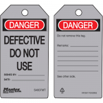 """Danger Defective Do Not Use"" Safety Tag"
