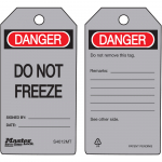 """Danger Do Not Freeze"" Safety Tag"